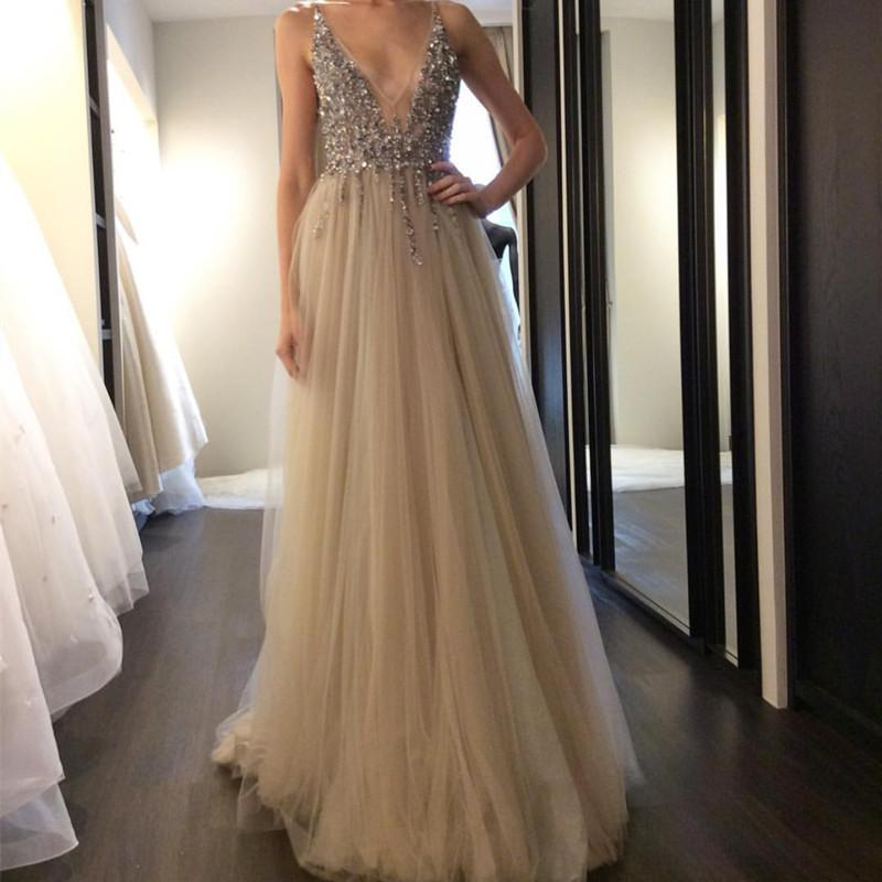 Deep V Neck Long Nude Tulle Prom Dresses 2018 Beaded Evening Gowns