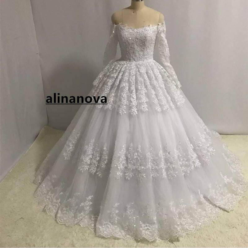 Lace Long Sleeves Ball Gowns Wedding Dresses Off The Shoulder