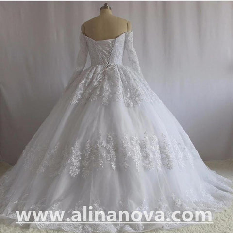 Image of Lace Long Sleeves Ball Gowns Wedding Dresses Off The Shoulder