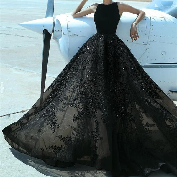 Elegant A Line Black Lace Floor Length Prom Dresses