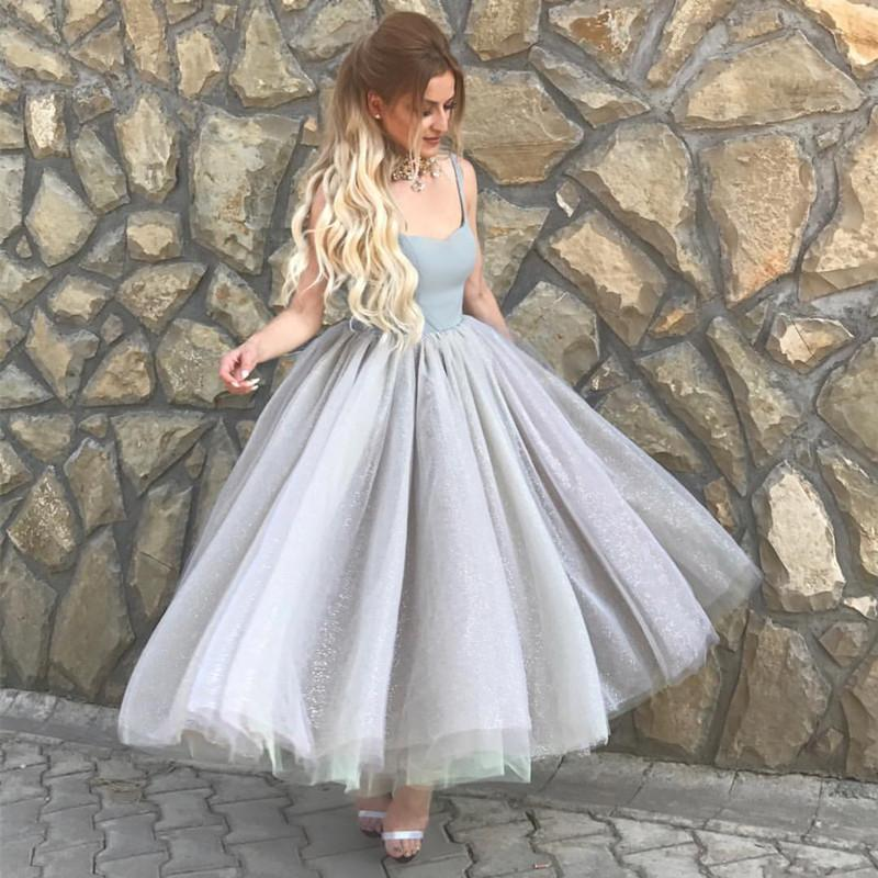 Simple A Line Silver Tulle Swing Ball Gown Party Dresses