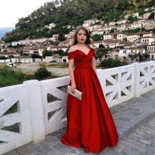 Afbeelding in Gallery-weergave laden, Burgundy Satin Off The Shoulder Ball Gowns Evening Dresses 2018