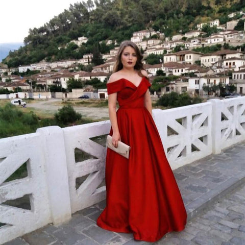 Image of Burgundy Satin Off The Shoulder Ball Gowns Evening Dresses 2018