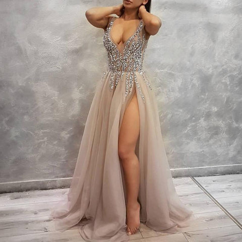 Image of Sexy Deep V Neck Long Tulle Slit Prom Dresses 2018 Beaded Evening Gowns