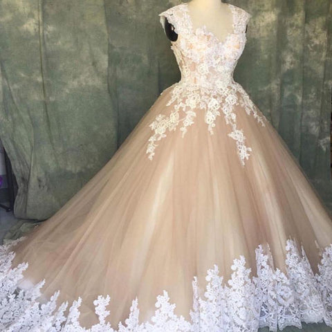 Image of A Line Ivory Lace Cap Sleeves Tulle Champagne Wedding Dresses