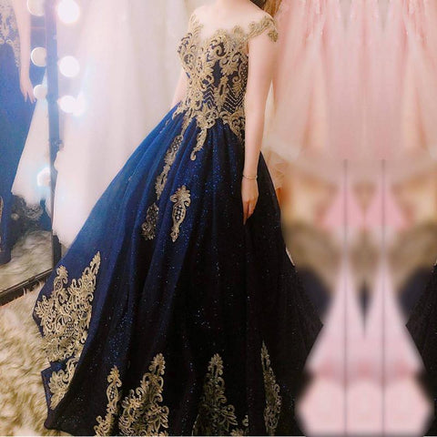 Image of Navy Blue Ball Gowns Wedding Dresses Gold Lace Embroidery