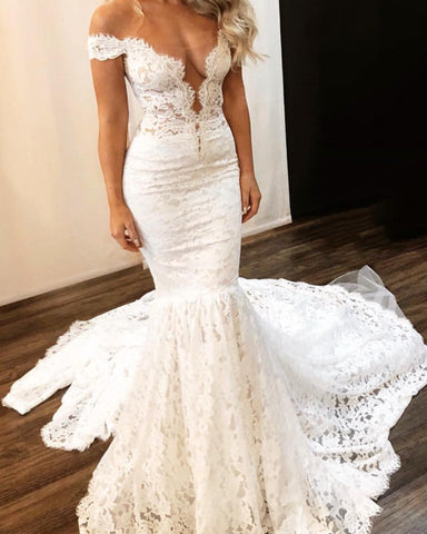 Image of Mermaid Lace Wedding Dress For Bride