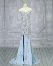 Load image into Gallery viewer, Light Blue Mermaid Prom Dresses 2020