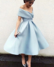 Afbeelding in Gallery-weergave laden, Light Blue Ball Gown Prom Dress Tea Length