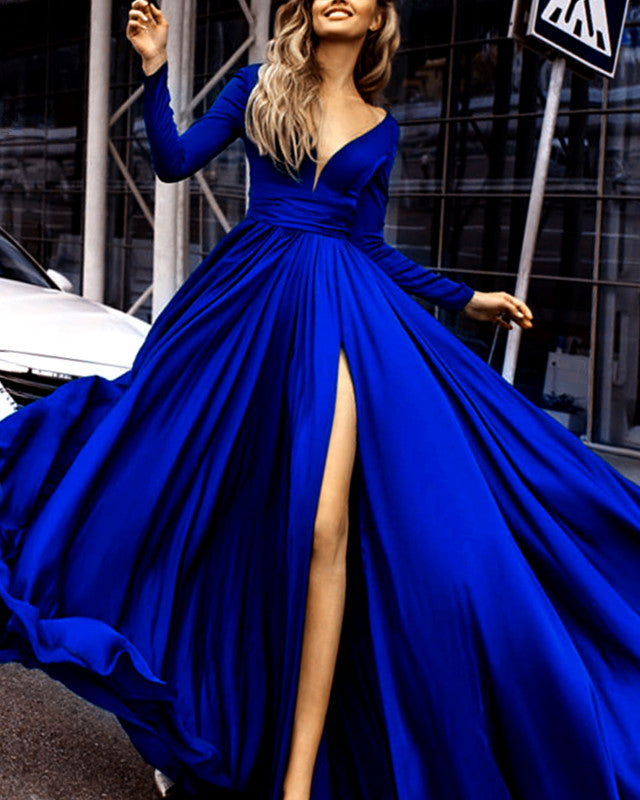 Long Sleeves Prom Dresses Chiffon Split Evening Gown