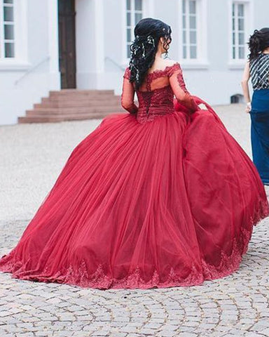 Image of Burgundy Quinceanera Dresses Ball Gown Lace Long Sleeves