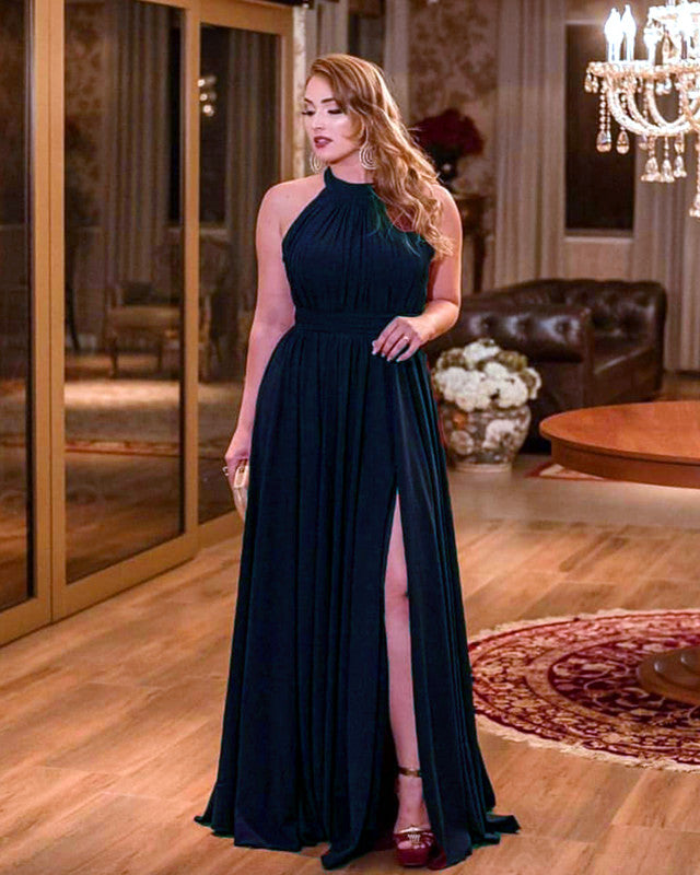 Long Chiffon Bridesmaid Dresses Navy Blue