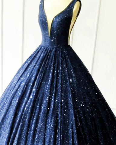 Image of Navy Blue Sequin Quinceanera Dresses 2020