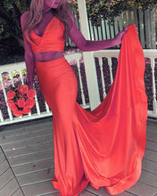 Load image into Gallery viewer, Orange Prom Dresses Mermaid