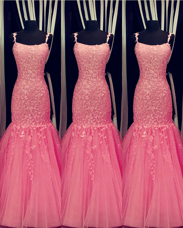 Hot Pink Lace Prom Dresses Mermaid