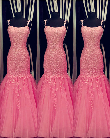 Image of Hot Pink Lace Prom Dresses Mermaid