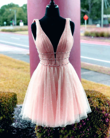 Blush Pink Sequin Tulle Homecoming Dresses 2019