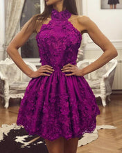 Afbeelding in Gallery-weergave laden, Purple Lace Homecoming Dresses Halter