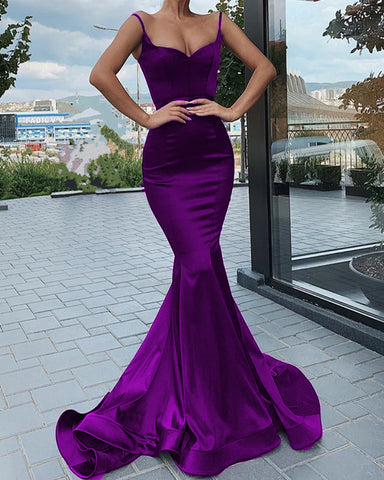 Image of Spagehetti Straps V Neck Corset Mermaid Prom Dresses