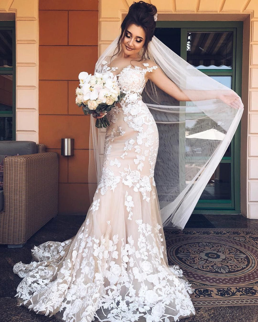 f53f0610e528 Ivory Lace Embroidery Mermaid Wedding Dresses Champagne. Double tap to zoom