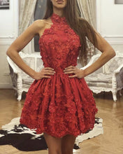 Afbeelding in Gallery-weergave laden, Red Lace Homecoming Dresses 2019