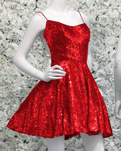 Afbeelding in Gallery-weergave laden, Red Sequin Homecoming Dresses