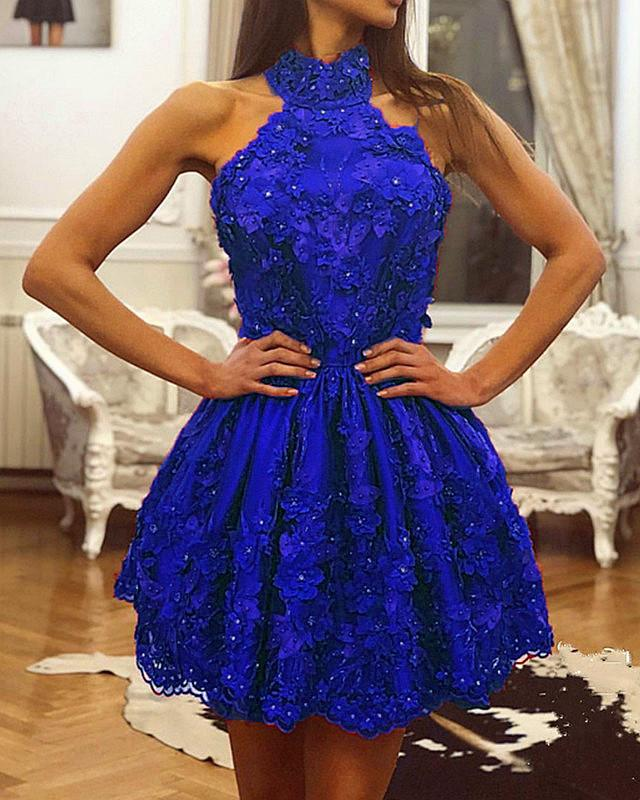 Royal Blue Lace Homecoming Dresses Halter