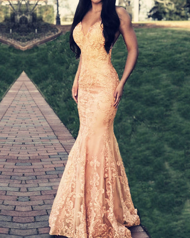 Image of Champagne Lace Mermaid Prom Dress