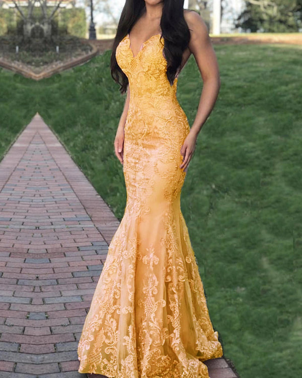 Gold Lace Mermaid Prom Dresses