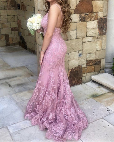 Image of Dusty Pink Lace Prom Dress