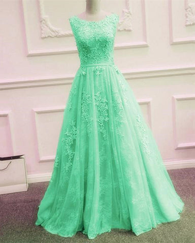 Image of Tulle Evening Dresses Backless Prom Lace Appliques Gown