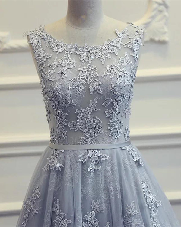 Tulle Evening Dresses Backless Prom Lace Appliques Gown