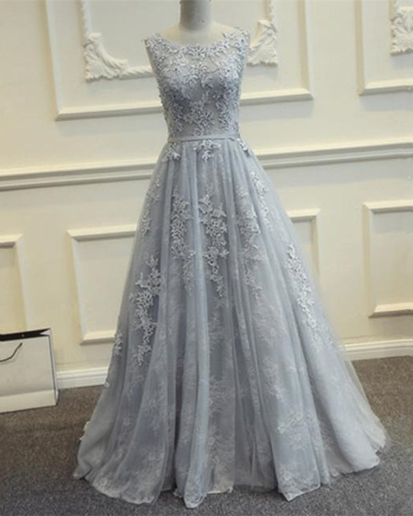 Silver Tulle Prom Dresses Lace Appliques