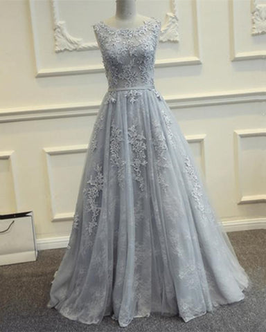 Image of Silver Tulle Prom Dresses Lace Appliques