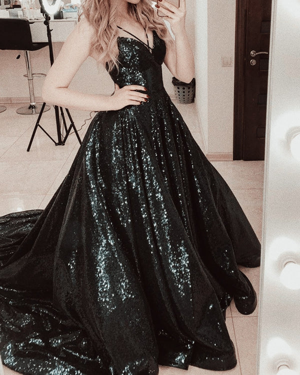 Black Sequin Prom Dresses 2020