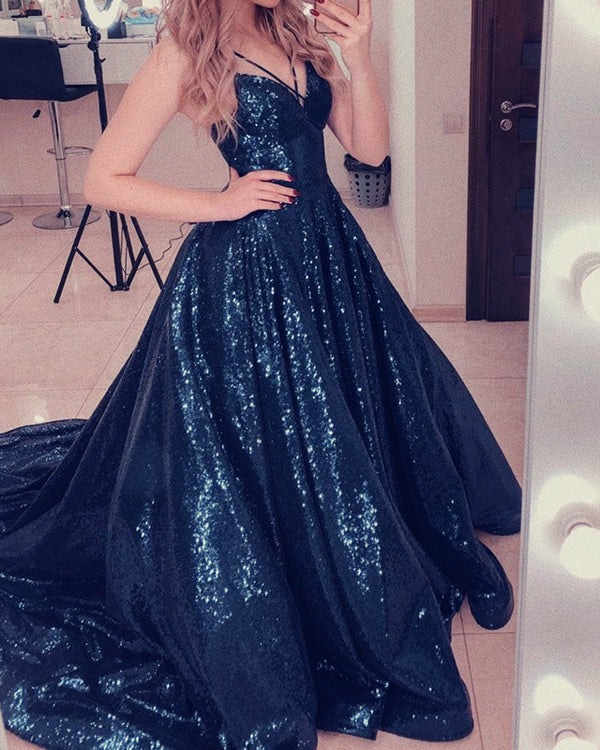Navy Blue Sequin Prom Dresses 2020