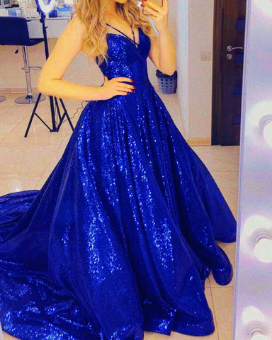 Image of Royal Blue Sequin Prom Dresses 2020