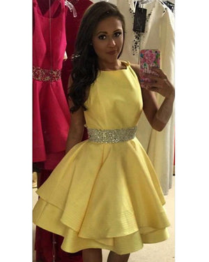 Short Yellow Homecoming Dresses Beaded Prom Mini Dress