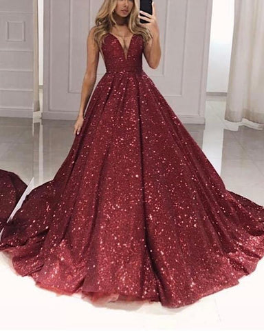 Image of Burgundy Sequin Quinceanera Dresses