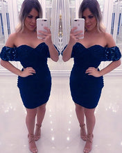 Afbeelding in Gallery-weergave laden, Navy Blue Homecoming Dresses 2019 Short