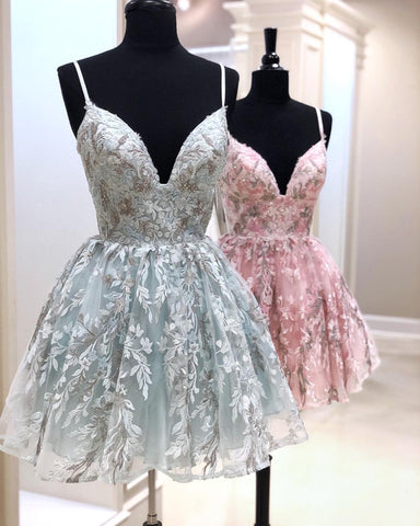 Short Lace Homecoming Dresses V Neck Spaghetti Straps