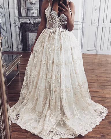 Image of Tulle-Wedding-Dresses-Lace-Embroidery-2020