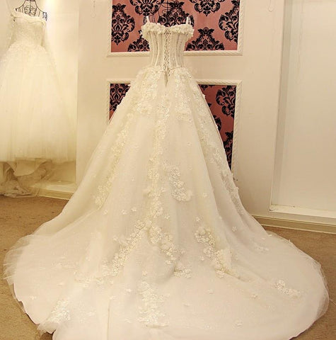Image of Lace And Crystal Beaded Sweetheart See Through Wedding Dresses Ball Gowns
