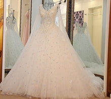 Load image into Gallery viewer, A Line V Neck Lace Crystal Beaded White/ Light blue Wedding Dresses Floor Length