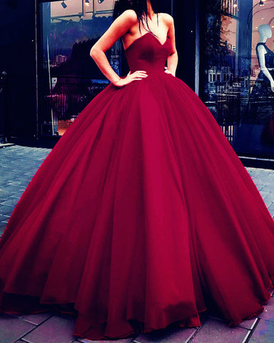 Image of Burgundy Ball Gown Wedding Dresses 2020