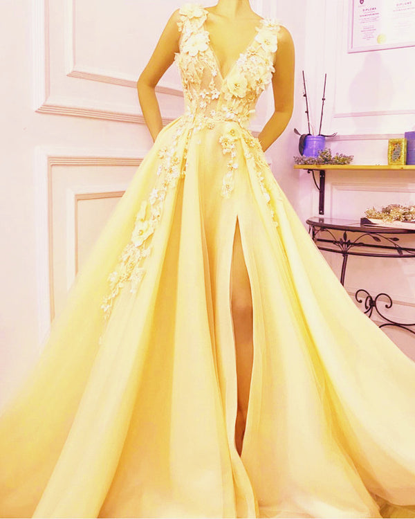 Yellow Prom Dresses Long 2020