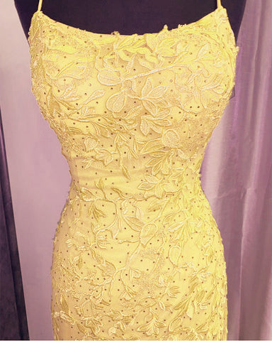 Image of Yellow Lace Mermaid Dresses