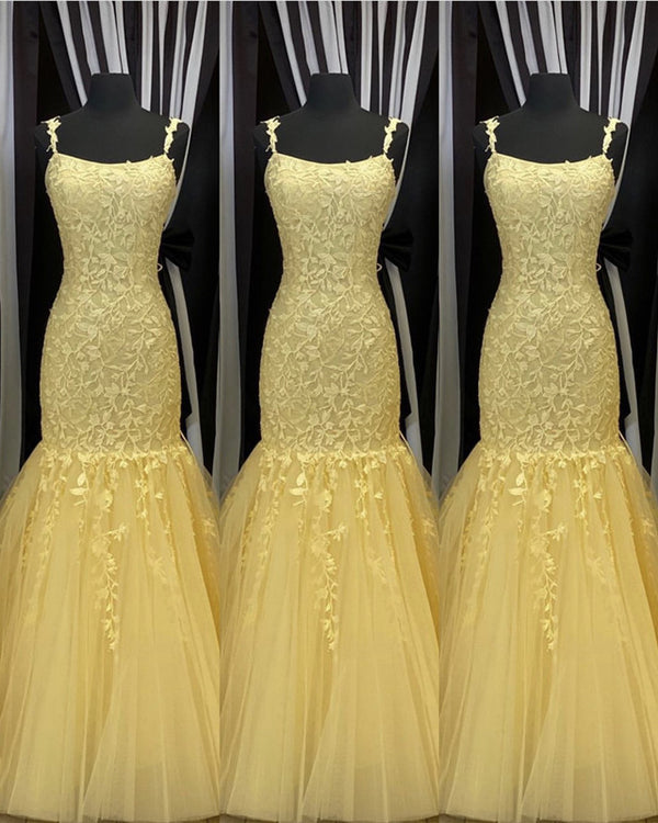 Yellow Lace Mermaid Prom Dresses 2020