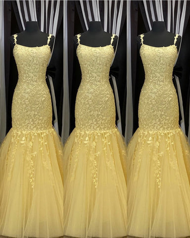 Image of Yellow Lace Mermaid Prom Dresses 2020