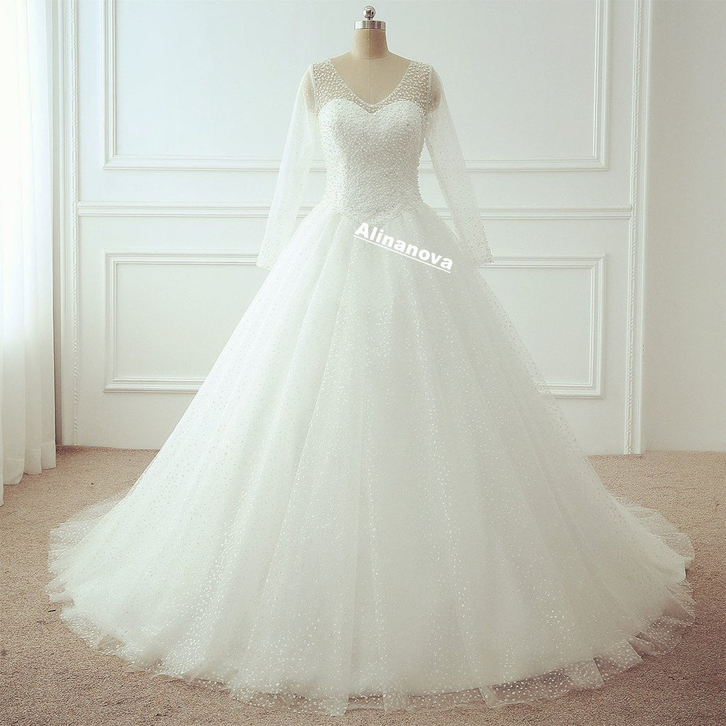 Bling Bling Long Sleeves Wedding Dresses Ball Gowns With Pearl And Sequins Beaded